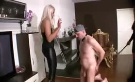 Blonde German Mistresses Whip Slave Silly