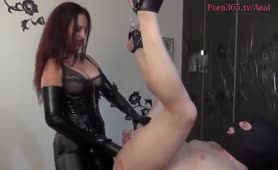 Mistress Dominates his ass and fists it