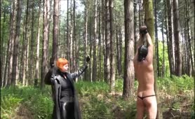 Punishment whipping outdoors