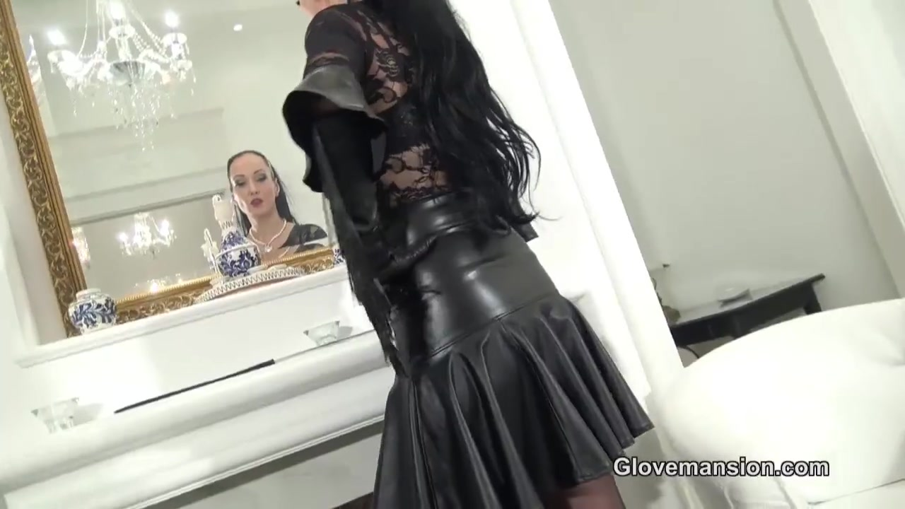 Handjob with Leather Gloves