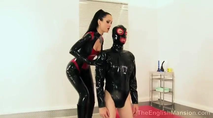 Latex Mistress and Her New Slave