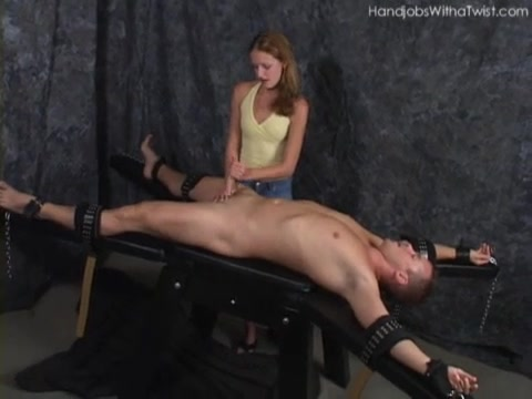 Tied Down and given a handjob
