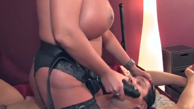 Hot pegging by busty dominant chick