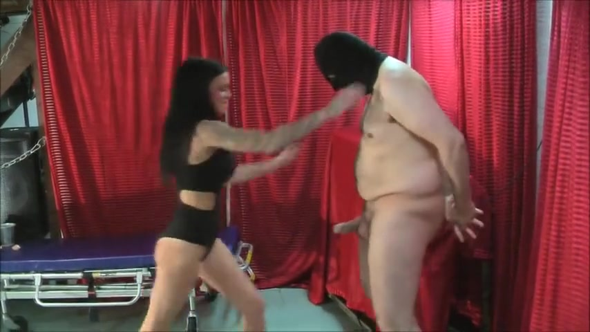 Italian Mistress Ballbusting in Dungeon