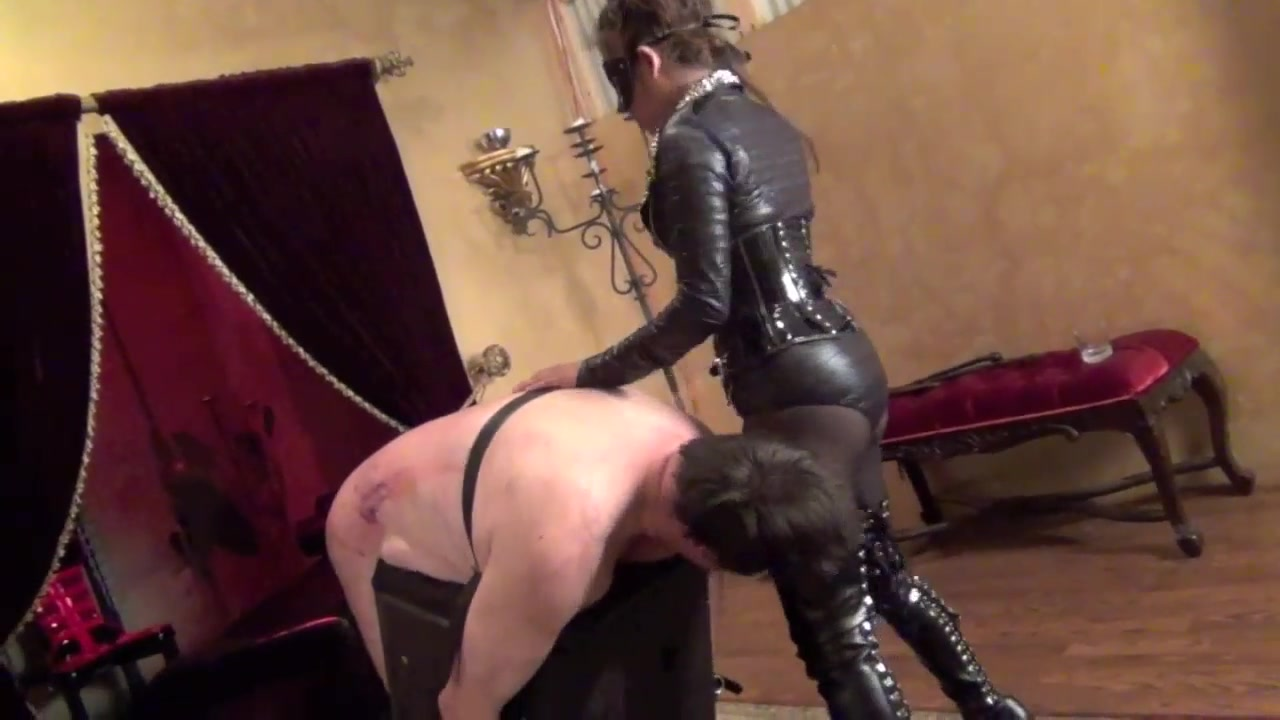 Strict Mistress Caning Male Slave