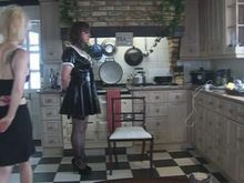 Mistress Spanking her Sissy Slave in Kitchen