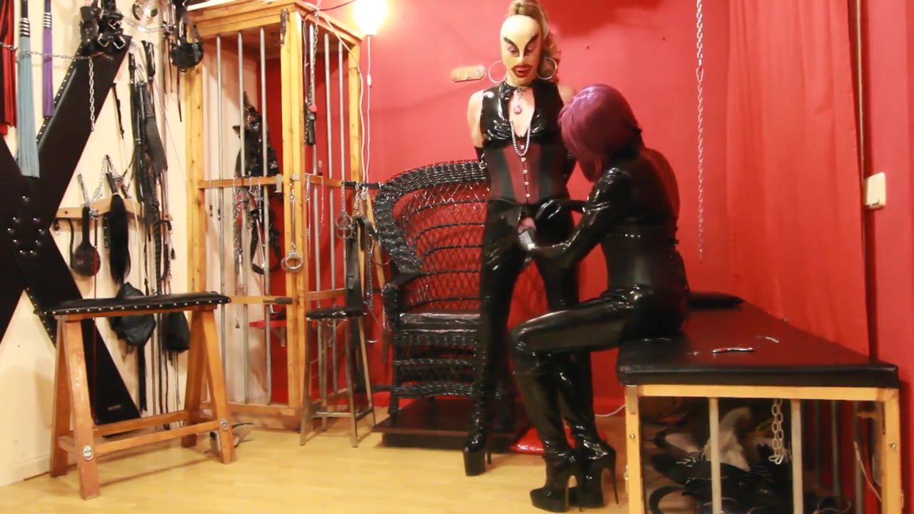 Rubber Sissy Tied Up and Given Handjob